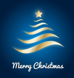 Elegant gold Christmas tree with glow on blue vector image vector image