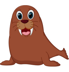 Happy walrus cartoon vector