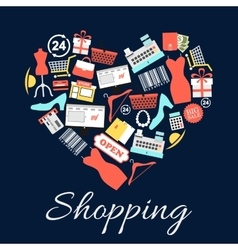 I love shopping emblem in shape of heart vector
