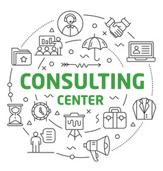 Line flat circle consulting center vector