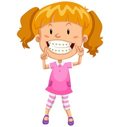 Little girl with braces vector