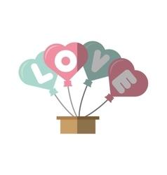 Love card hearts balloons hang with basket vector