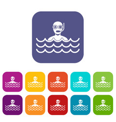 Man with scuba icons set vector