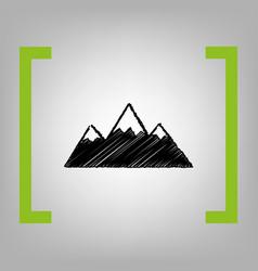 Mountain sign black scribble vector