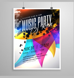 music party flyer template design with colorful vector image vector image