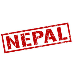 Nepal red square stamp vector