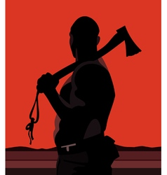 Silhouette of a man with a hatchet on a red vector