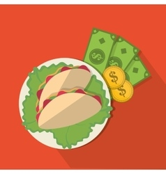 Taco and money of fast food concept vector