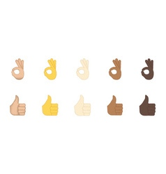 Thumbs up and ok gesture emoji vector