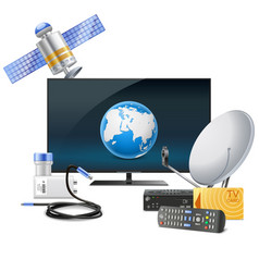 Tv with satellite equipment vector