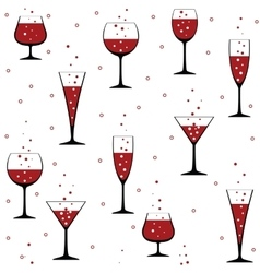 Wine glasses on white vector