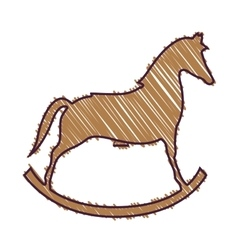 Wooden horse toy vector