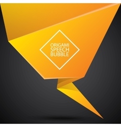 Abstract glossy orange origami speech bubble vector image