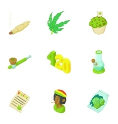 Hemp icons set cartoon style vector