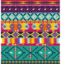 Seamless colorful aztec pattern with birds and arr vector