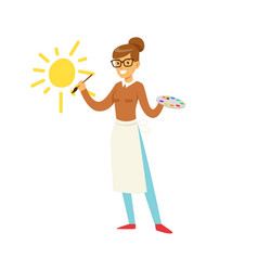 Smiling teacher holding art palette and painting vector
