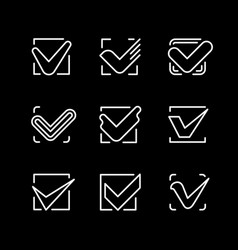 Set line icons of check mark vector