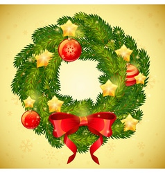Christmas festive decorative wreath vector