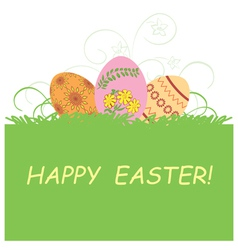Green background with easter eggs - happy easter vector