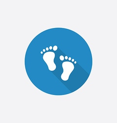 Footprints flat blue simple icon with long shadow vector