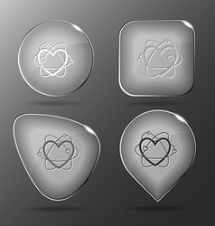 Atomic heart glass buttons vector
