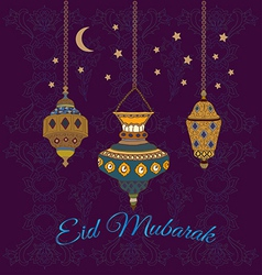 Eid mubarak greetings with lamps vector