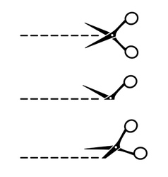 Set of scissors with cut lines vector