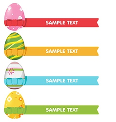 Easter egg ribbon border color vector