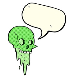 Gross halloween skull cartoon with speech bubble vector