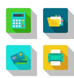 Counting and paper work flat icons vector