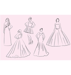 Wedding bridesmaid dresses silhouettes vector