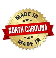 Made in north carolina gold badge with red ribbon vector