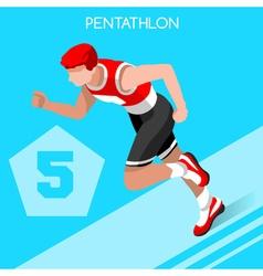 Pentathlon 2016 Summer Games 3D Isometric vector image