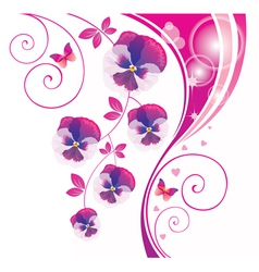 Abstract background with pink viola and butterfly vector