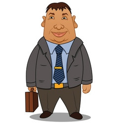 Fat businessman with a case vector