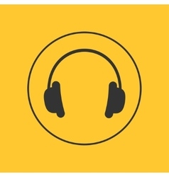 Headphones with round line circle music card vector