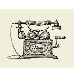 Vintage telephone hand-drawn sketch retro phone vector