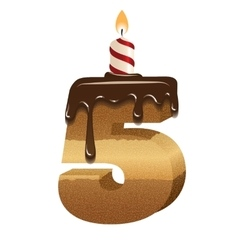 Birthday cake font - number five vector image vector image