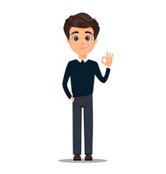 business man cartoon character young handsome vector image