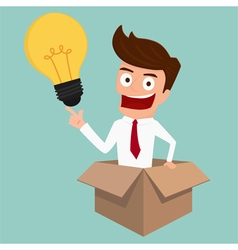Businessman thinks out of the box and get idea vector