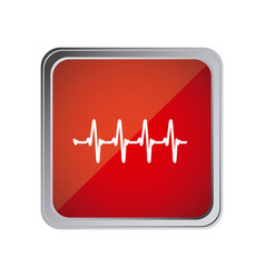 button with vital sign line with background red vector image