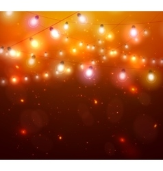 Colourful Glowing Christmas Orange Lights vector image