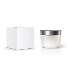 cosmetic blank pack box and skin care cream jar vector image