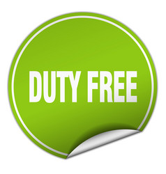 Duty free round green sticker isolated on white vector