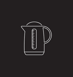 Electric kettle pot line icon outline vector