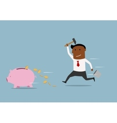 Fast businessman trying to smash a piggy bank vector