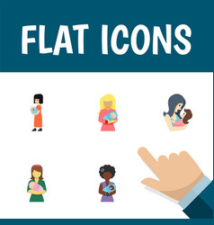 Flat icon parent set of baby mam woman and other vector