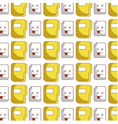 Folder document kawaii character pattern vector