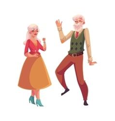 Full height portrait of old senior couple dancing vector