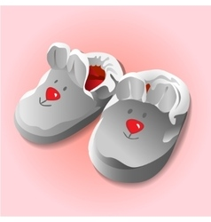 Funny baby booties for newborn vector